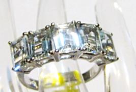 AQUAMARINE OCTAGON 5-STONE BAND RING, PLATINUM / SILVER, SIZE 7, 4.10(TCW) - $99.99