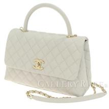 CHANEL Handbag Caviar Leather Light Gray Medium Top Handle Authentic 536... - $5,018.25