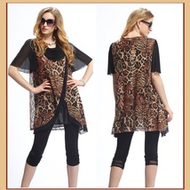 Black Voile Lace and Leopard Brown or Gray Caftan Scarf Shirt with Cowl Neckline