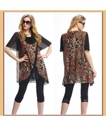 Black Voile Lace and Leopard Brown or Gray Caftan Scarf Shirt with Cowl ... - $68.95