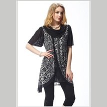 Black Voile Lace and Leopard Brown or Gray Caftan Scarf Shirt with Cowl Neckline image 2
