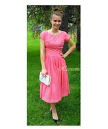 Vintage 50s 60 dress coral salmon eyelet lace womens summer - $57.00