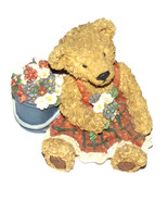 Teddy Bear Figurine, Bear in Red checked dress with flowers, Retro colle... - $14.00