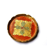 Unique Vintage Glass Cup Mug Coaster Green Leaves Carved Brown Gold Pain... - $15.00