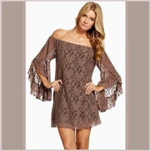 Long Flare Sleeve Off Shoulder Lace Casual Summer Mini Beach Dress in 3 Colors