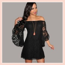 Casual Summer Long Flare Sleeve Off Shoulder Lace Mini Beach Dress in 4 Colors image 2
