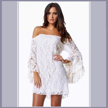 Casual Summer Long Flare Sleeve Off Shoulder Lace Mini Beach Dress in 4 Colors image 3