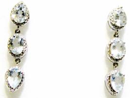 BLUE AQUAMARINE PEAR & OVAL DANGLE EARRINGS, PLATINUM / 925 SILVER, 3.85(TCW) - $58.50