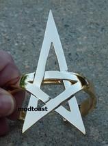 Pentagram Bracelet Star Jewelry Gold Armor Cuff Avant Garde Celestial Statement - $16.99