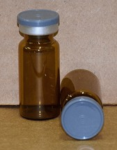10 mL Amber Sterile Vial w/ Dark Gray Plain Flip Top Seal - Qty. 50 - $54.95