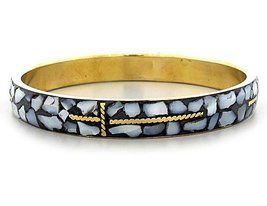 Cross Bracelet Mosaic White Shell Inlay Gold Cuff Bangle  - $13.99