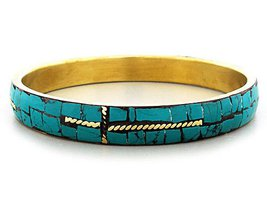 Cross Bracelet Mosaic Green Shell Inlay Gold Cuff Bangle  - $13.99