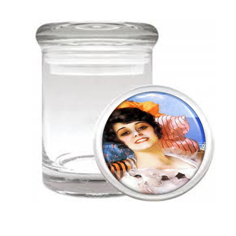 Retro Pretty Girl Beach Medical Glass Jar 464 - $14.48