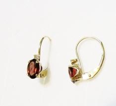 14K Yellow Gold Brazilian Red Garnet Oval & Diamond Earrings, 1.01(TCW), 0.8GR - $135.00