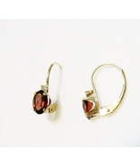 14K Yellow Gold Brazilian Red Garnet Oval & Diamond Earrings, 1.01(TCW),... - $135.00