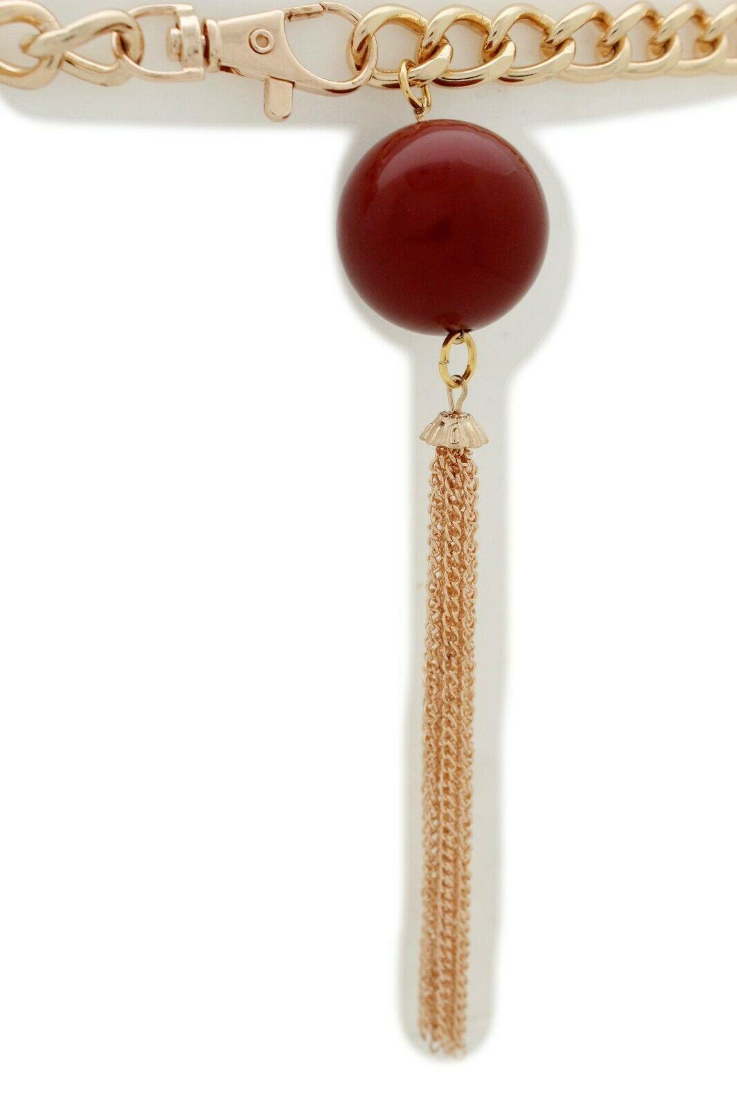 Women Fashion Gold Metal Chain Narrow Belt Long Red Beads Fringes Tassel XS S M