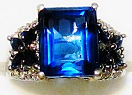 BLUE FLUORITE OCTAGON, BLUE SAPPHIRE & DIAMOND RING, SILVER, SIZE 7, 5.31(TCW) - $95.00