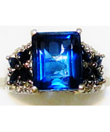 BLUE FLUORITE OCTAGON, BLUE SAPPHIRE & DIAMOND RING, SILVER, SIZE 7, 5.3... - $95.00