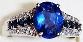 BLUE FLUORITE OVAL, BLUE SAPPHIRE RND & DIAMOND RING, SILVER, SIZE 8, 2.72(TCW) - $55.00