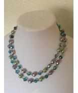 Vintage Bijoux Terner Double Layered Beaded Blue Aqua Green Fashion Neck... - $35.00