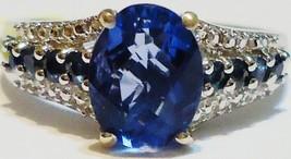 BLUE FLUORITE OVAL & BLUE SAPPHIRE RND RING, PLATINUM / SILVER, SIZE 8, 2.75(TCW - $55.00