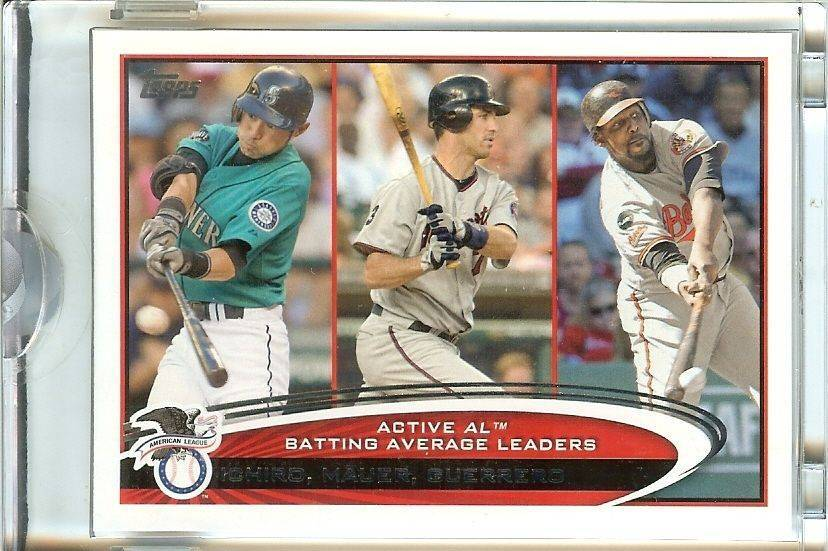 Primary image for 2012 topps al batting leaders ichiro mauer guerrero serial # 1/1mariners twins o