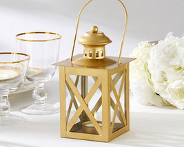 12 Gold Tea Light Candle Lantern Engagement 50th Anniversary Wedding Fav... - $95.00