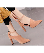 89h183 sweet ankle strappy pump, suede leather, Size 4-8, pink - $68.80