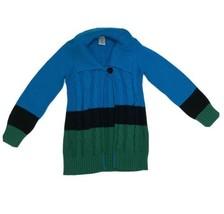 Gymboree Fancy Dalmatians Cable Knit Sweater Jacket S 5-6 Blue Green Black - $12.86