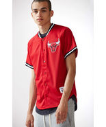 Mitchell & Ness Chicago Bulls NBA Button Up Jersey  red MEN'S GUYS  NEW  - $79.99