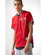 Mitchell & Ness Chicago Bulls NBA Button Up Jersey  red MEN'S GUYS  NEW  - $79.99+