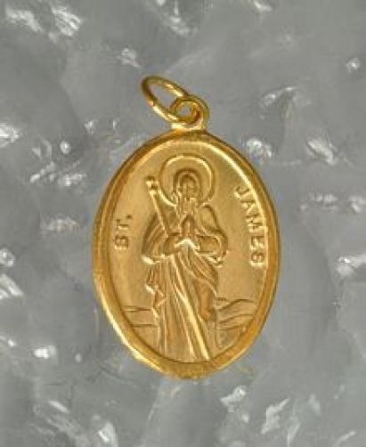 NICE Sterling Silver .925 St. Saint James Charm Gold plated