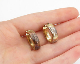 925 Silver & 10K GOLD - Vintage Two Tone Etched Detail Hoop Earrings - E... - $32.73