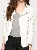 WOMENS BIKER LEATHER JACKET IN LOOS FIT, WHITE JACKETS, WOMEN'S LEATHER ... - $159.99