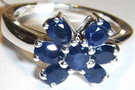 BLUE SAPPHIRE OVAL FLORAL BAND RING, STERLING SILVER, SIZE 6, 1.75(TCW), 2.50GR - $22.50