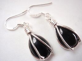 Black Onyx Caged Teardrop 925 Sterling Silver Dangle Earrings Corona Sun... - $12.86