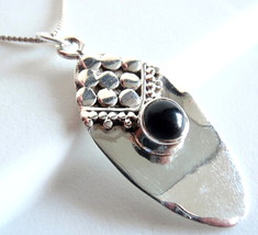 Black Onyx Necklace Cabochon Tribal Style 925 Sterling Silver Imported f... - $21.14