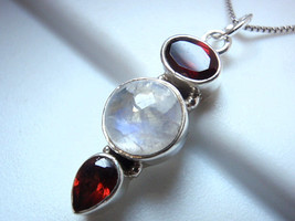 Faceted Garnet Moonstone Globe Necklace 925 Sterling Silver Imported r658a - $14.46