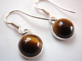 New Basic Round Tiger Eye Silver Dangle Earrings India - $11.87