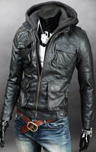 Premium mens leather jacket for men detachable with hoodie uk size xs s m 22 thumb200