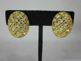 Nolan Miller Rhinestone Clip On Earrings Domed Button Gold Tone Crystal ... - $24.74