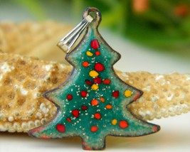 Vintage Christmas Tree Pendant Copper Enamel Holiday Figural Green - $14.95