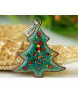 Vintage christmas  tree pendant copper enamel holiday figural green thumbtall