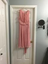 Karin Stevens Peach White Dot Keyhole Spring Easter Dress 14 - $17.75