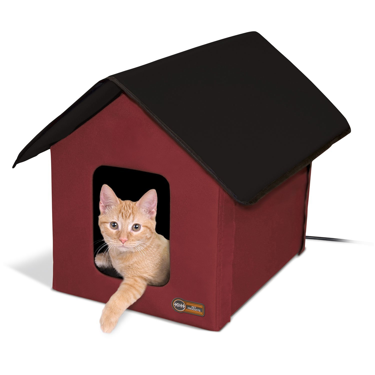 "Primary image for K&H Pet Products Outdoor Heated Kitty House Barn Red / Black 22"" x 18"" x 17"""