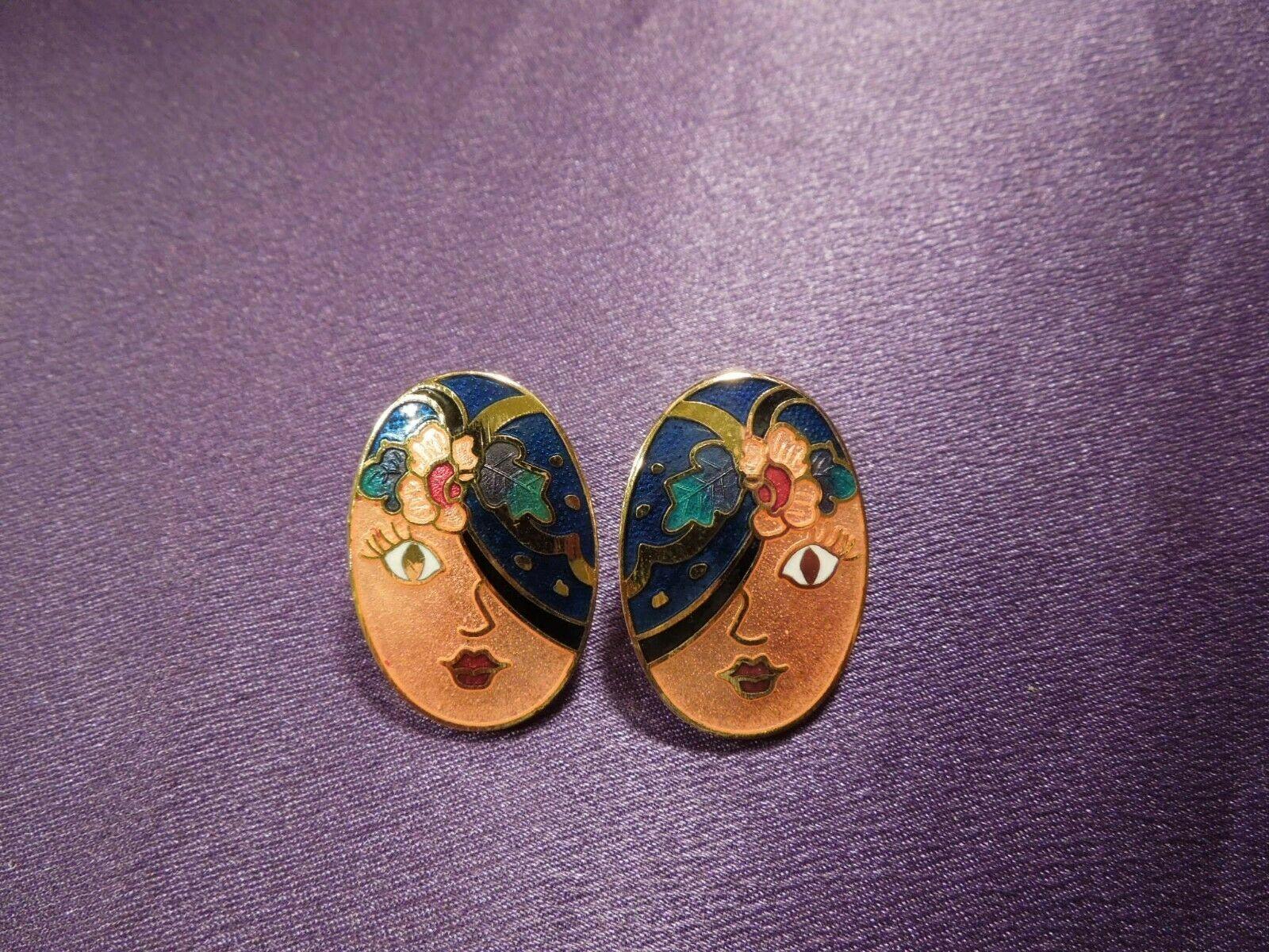 Vintage Enamel Gypsy Fortune Teller Face W/ Scarf Over Eye Oval Stud Earrings