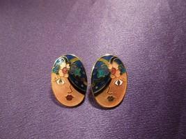 Vintage Enamel Gypsy Fortune Teller Face W/ Scarf Over Eye Oval Stud Earrings - $29.70