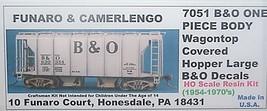 Funaro & Camerlengo HO B&O Wagontop covered hopper, Large B&O decals, kit 7051 image 1