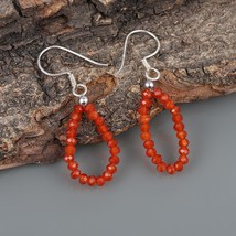 Faceted Red Onyx 925 Sterling Silver Dainty Teardrop Dangle Earrings for... - $18.99