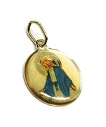 Yellow gold medal, 750 18k, miraculous, round, 15mm, with enamel - $197.11